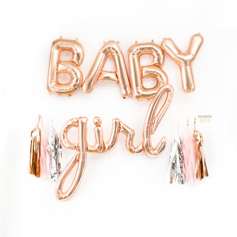 Baby Girl Balloon Banner | Rose Gold
