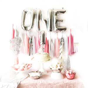 Winter Onederland Balloon Tassel Garland Party Box (Pink)