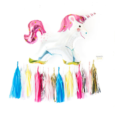 Unicorn Balloon w/ Paper Tassels Option