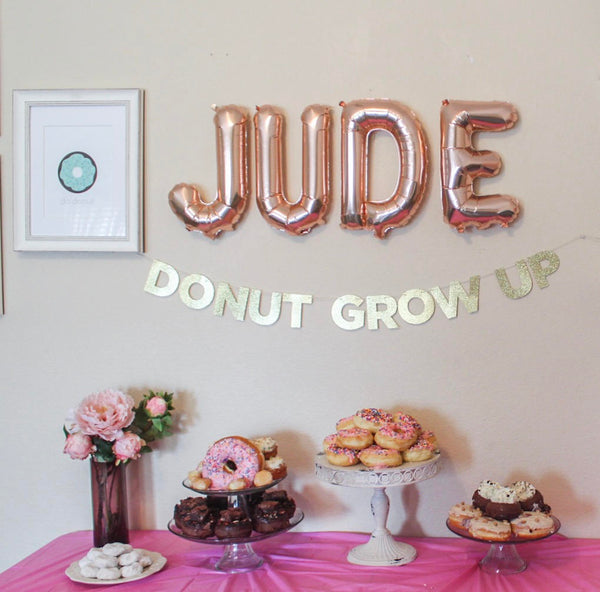 Donut Grow Up Garland & Custom Name Balloon Party Box