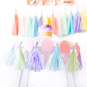 Ice Cream Highchair Banner w/ Mini Paper Tassels