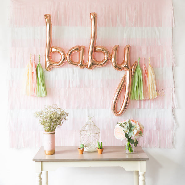 DIY Pink Fiesta Fringe Backdrop