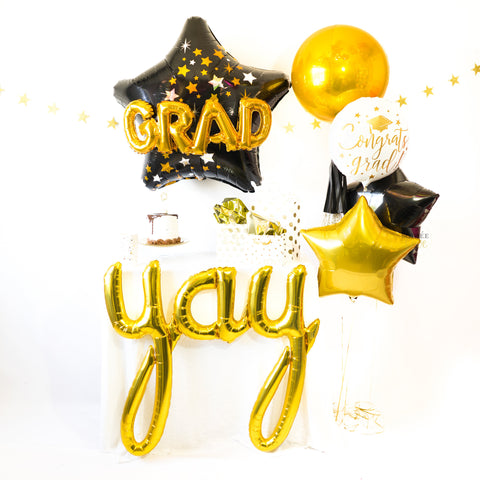 Black & Gold Grad Star Balloon Party Box