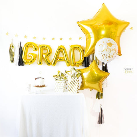 Black & Gold Grad Balloon Tassel Party Box