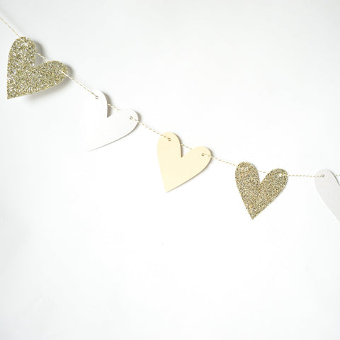 Heart Garland | White & Gold
