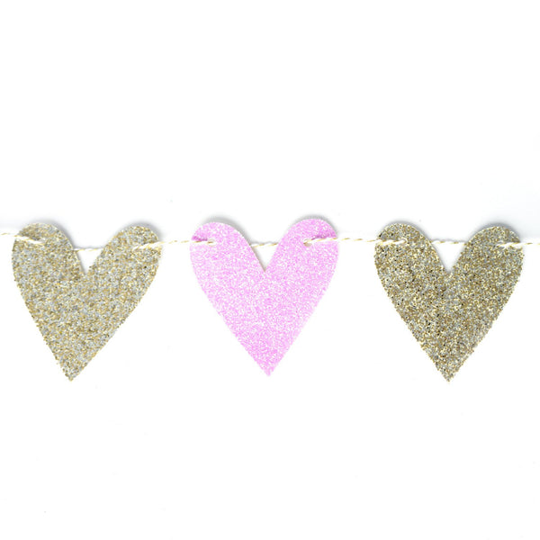 Heart Garland | Light Purple & Gold Heart