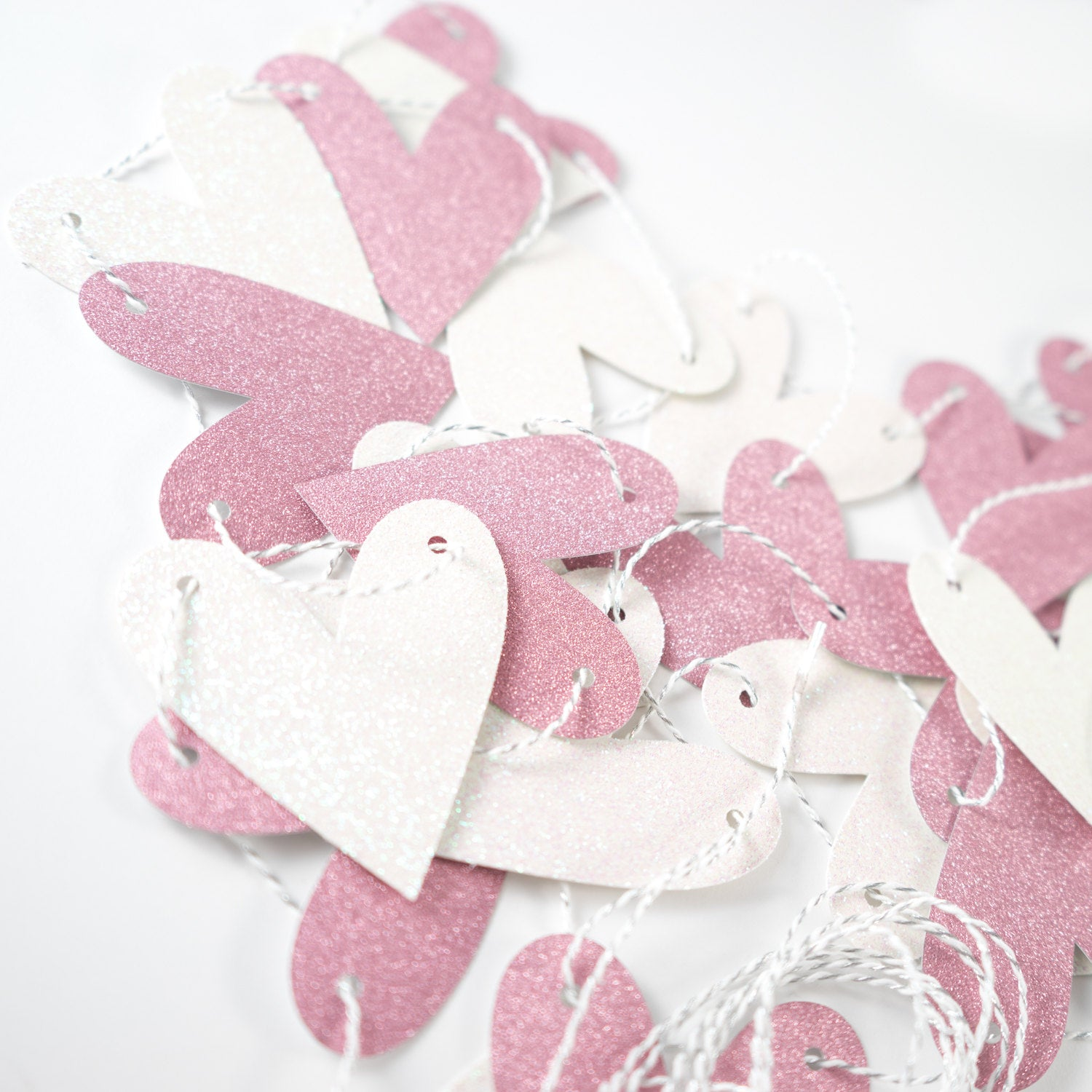 Heart Garland | Light Pink & White Glitter