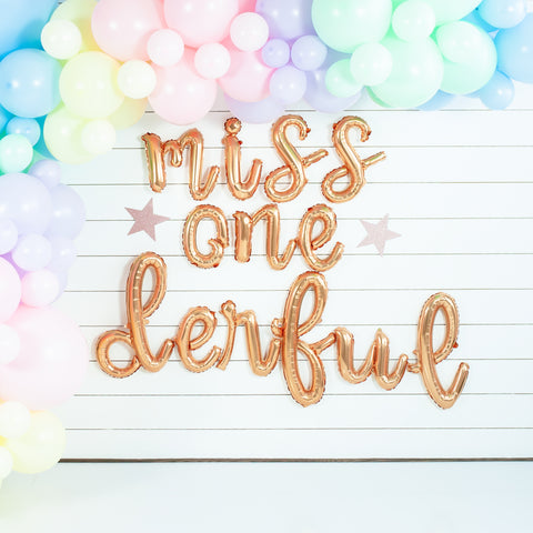 Miss Onederful Script Balloon Banner