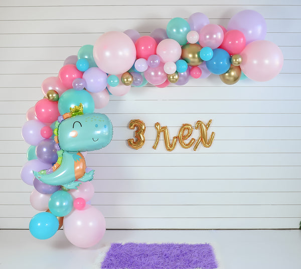 DIY Dinosaur Princess Balloon Garland