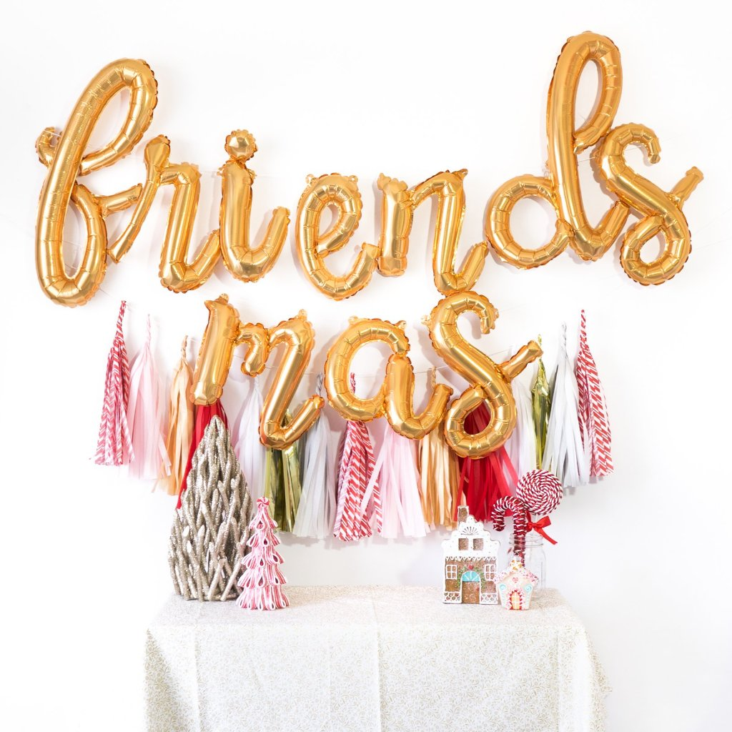 Friendsmas Script Balloon Banner