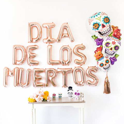 Rose Gold Dia de los Muertos Balloon Party Box