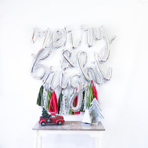 Merry & Bright Script Balloon Banner