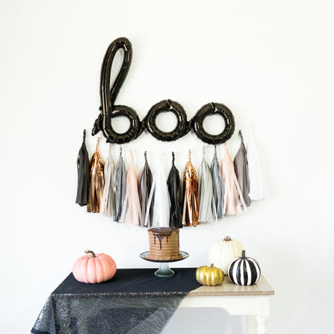Boo Balloon Banner | Rose Gold Monochrome Tassel Garland