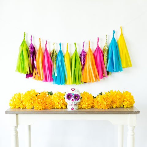 Bright Fiesta Multi-Color Paper Tassels