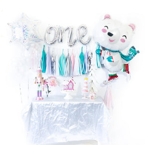 Bear Snowflake Winter Onederland Balloon Tassel Garland Party Box