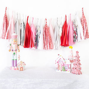 Pink Candy Cane Paper Tassels