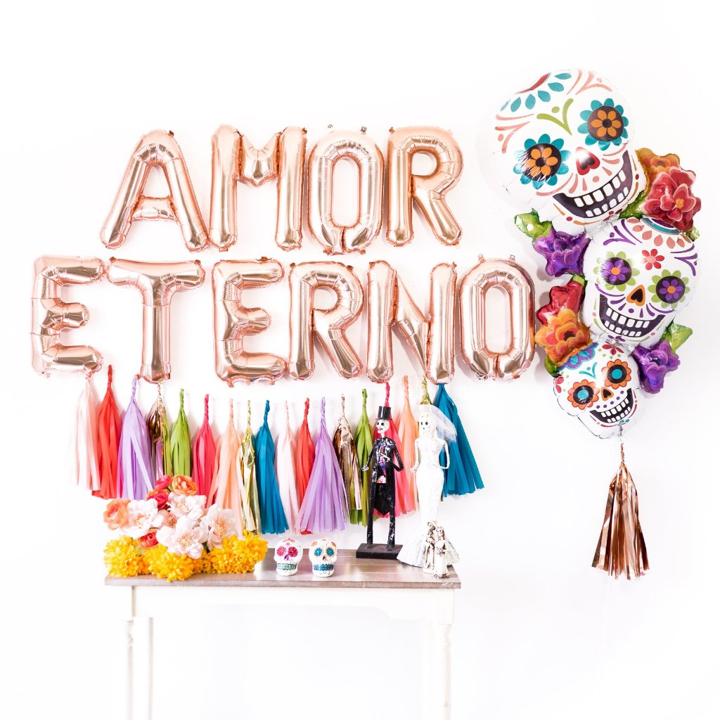 Rose Gold Amor Eterno Tassel Balloon Party Box