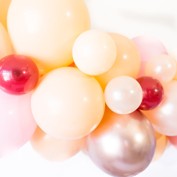 DIY Blush Fall In Love Balloon Garland Arch