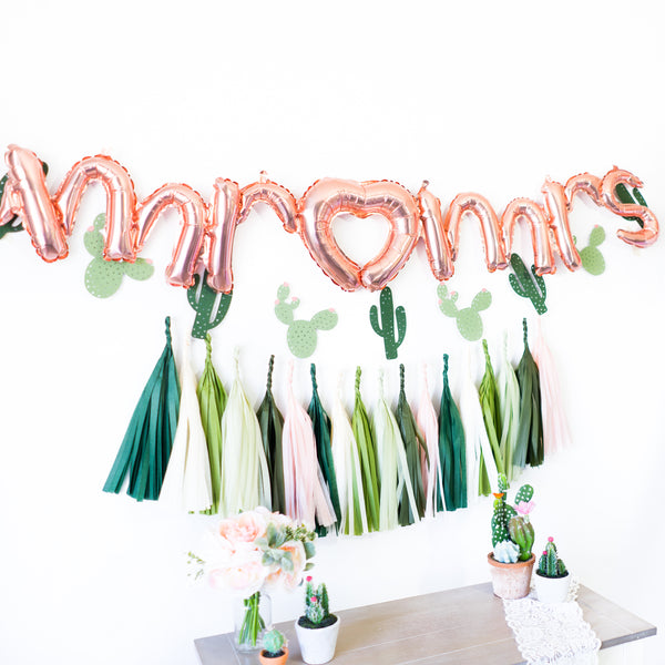 Script Mr & Mrs Rose Gold Cactus Balloon Banner