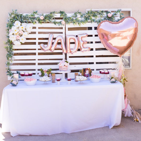 Rose Gold Heart Balloon w/ Paper Tassels | 36""