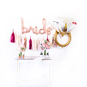 Script Rose Gold Bride Balloon Tassel Party Box