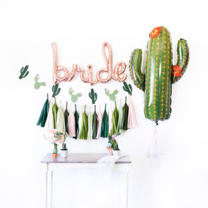 Script Rose Gold Bride Cactus Fiesta Balloon Tassel Party Box