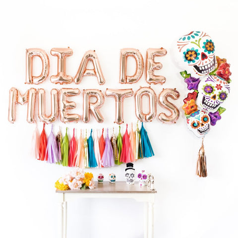 Rose Gold Dia de Muertos Balloon Party Box