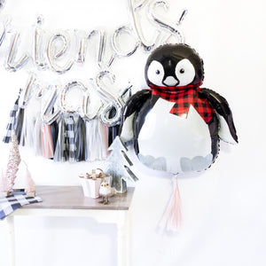 Buffalo Plaid Penguin Balloon