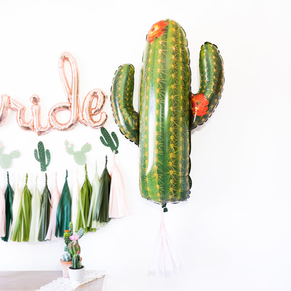 Script Rose Gold Bride Cactus Fiesta Balloon Party Box