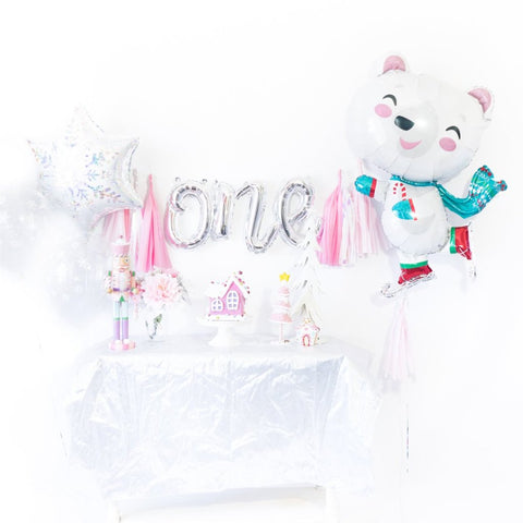 Pink Snowflake Bear Winter Onederland Balloon Tassel Garland Party Box