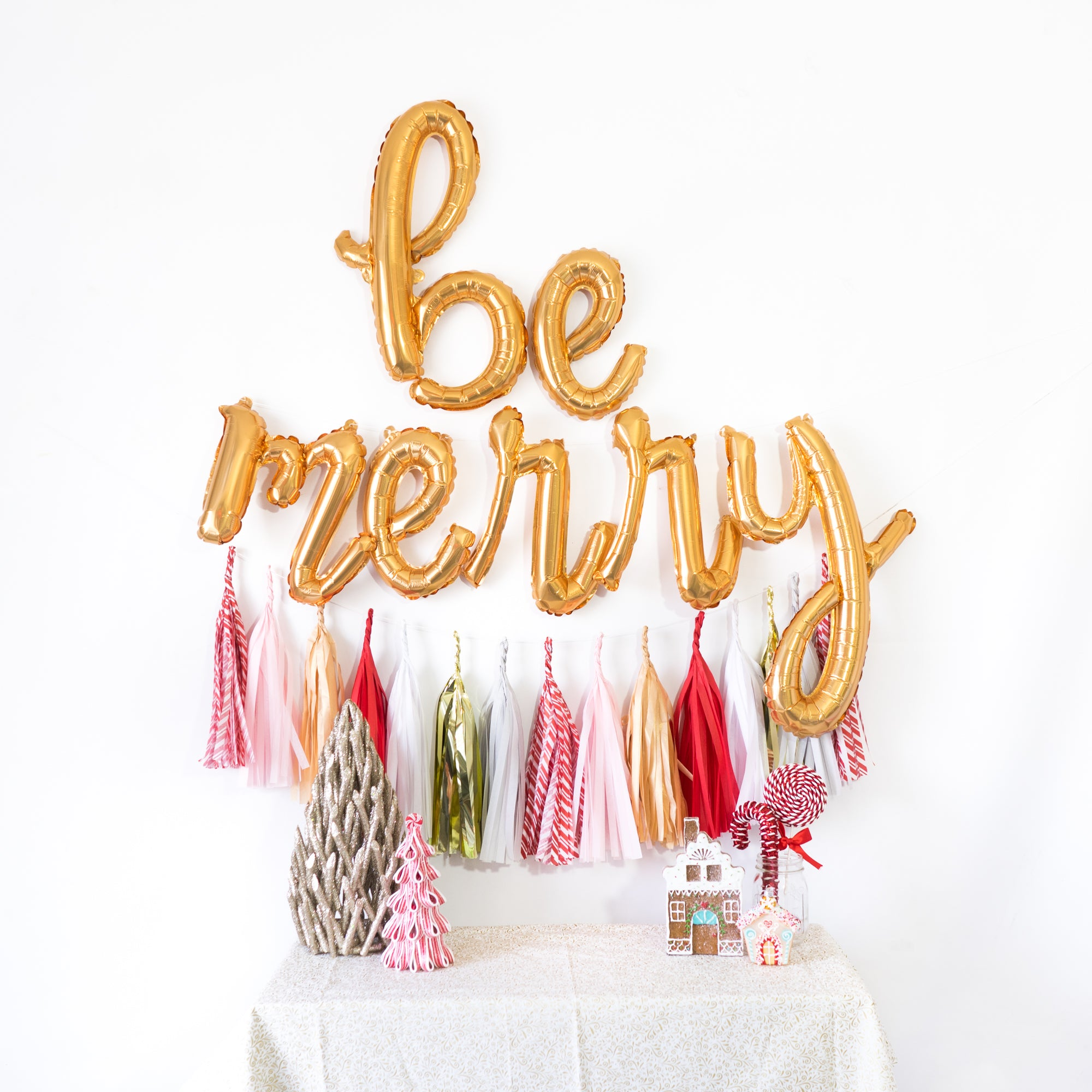 Be Merry Script Balloon Banner