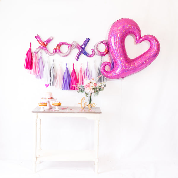 Valentine Heart Holographic Balloon