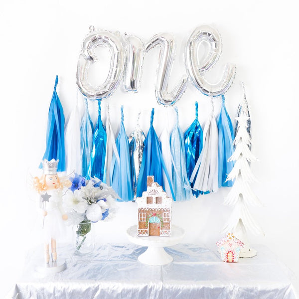 Script One Balloon Banner | Blue