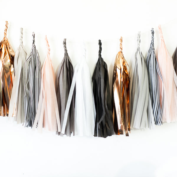 Rose Gold Stripe Paper Tassels