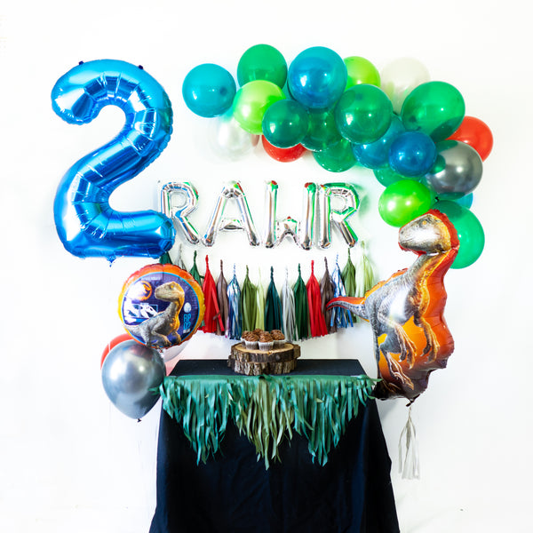 Blue Raptor RAWR Balloon Party Box