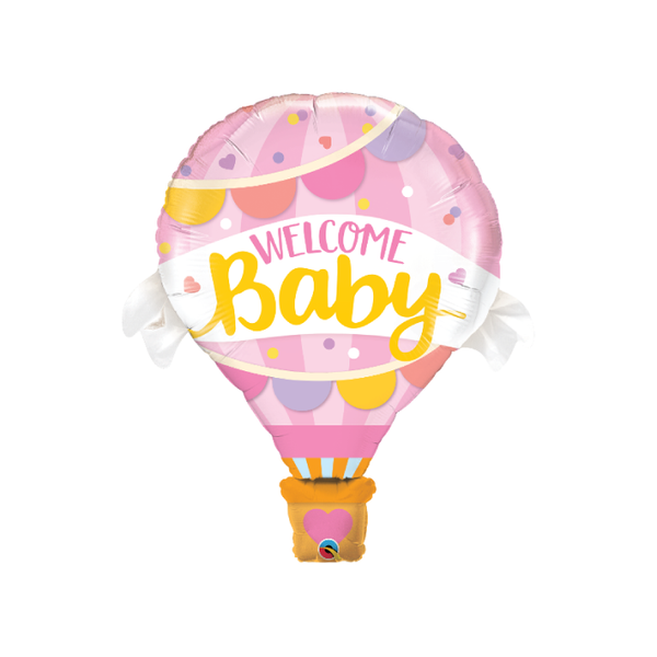 Hot Air Welcome Baby Balloon | Pink