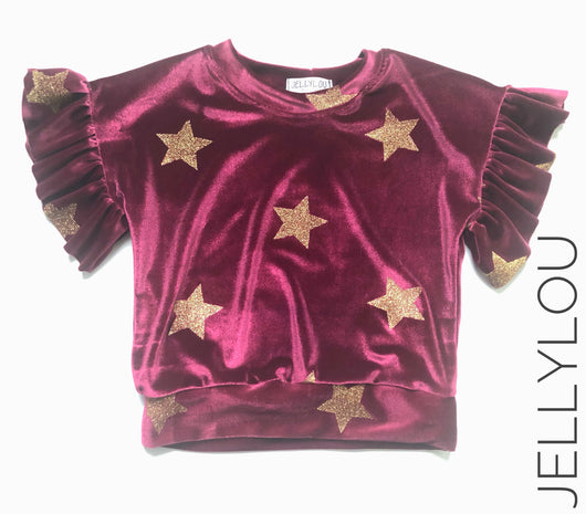 Velvet Stars top (size 5 ready to ship)
