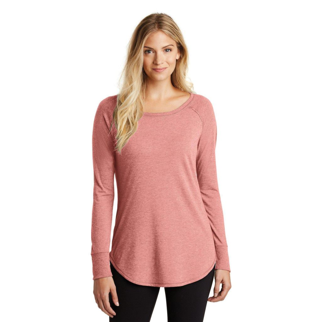7b17a86c5b62a District Made ® Ladies Perfect Tri ® Long Sleeve Dt132L - Blush Frost   Xl -