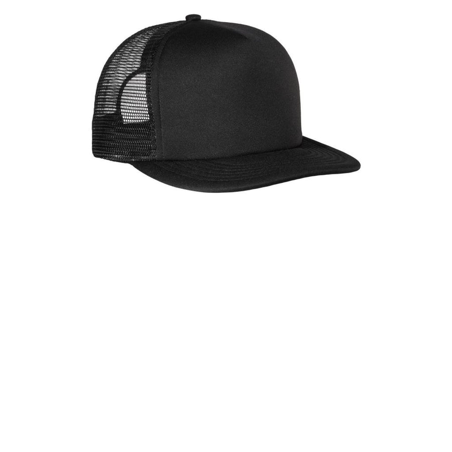 1f5919d3e5ac5 District® - Flat Bill Snapback Trucker Cap Dt624 - Black   Osfa - Caps