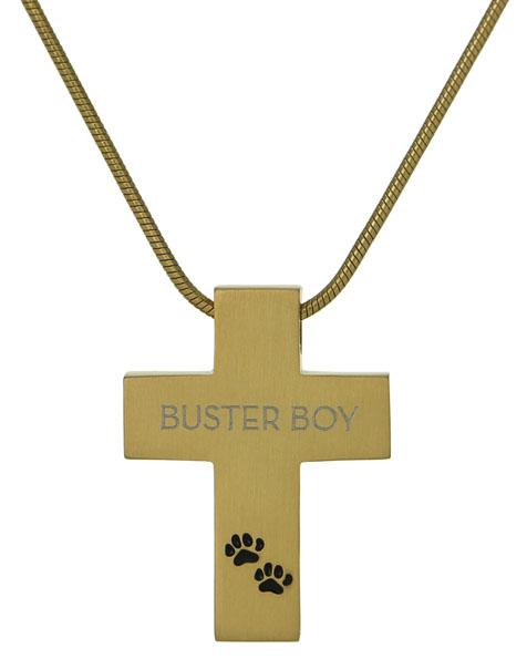 Bronze Cross With Paws Pet Cremation Jewelry