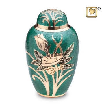 Adult Emerald Rose Solid Brass Urn