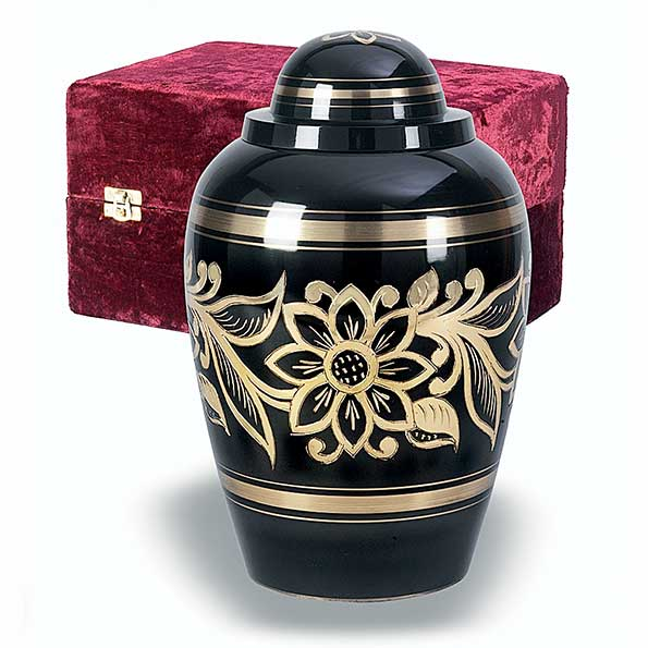 Ebony Bouquet Solid Brass Cremation Urn