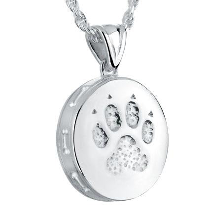 Round Dog Paw Pet Cremation Jewelry