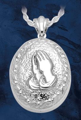Oval Praying Hands Pendant