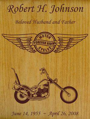 Born to Ride Motorcycle Wood Urn - Chopper Wings