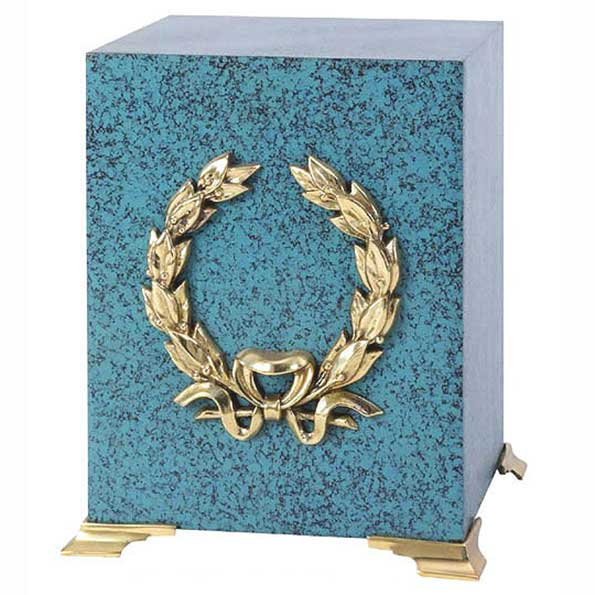 Marble Patina Brass Wreath Urn