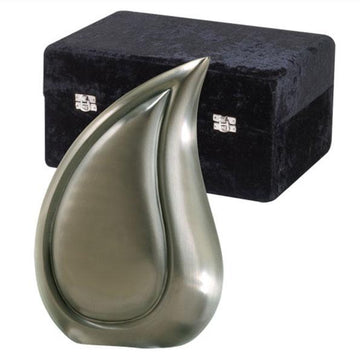 Tear Drop Brushed Pewter Urn