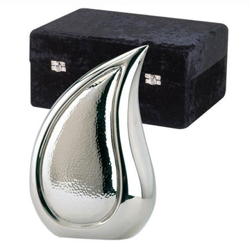 Tear Drop Bright Silver Urn