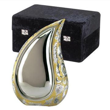 Tear Drop SilverGold Brass Urn