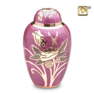Adult Lilac Rose Solid Brass Urn